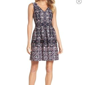 Vince Camuto print scuba fit and flare dress